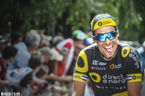 Sylvain Chavanel, tout en grimace au départ de la 17e étape du Tour de France
